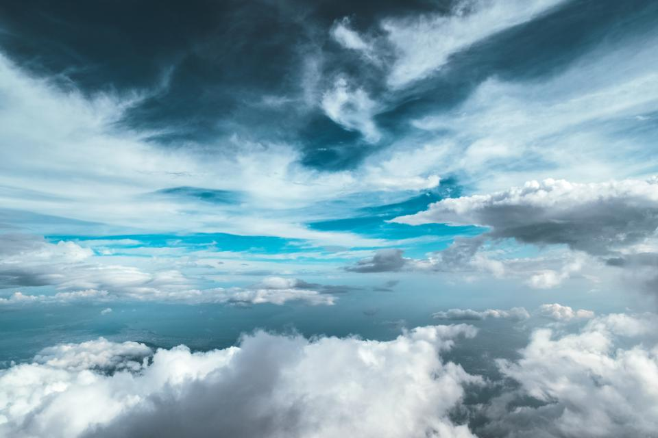 blue sky clouds cloudy aerial view flying travel trip