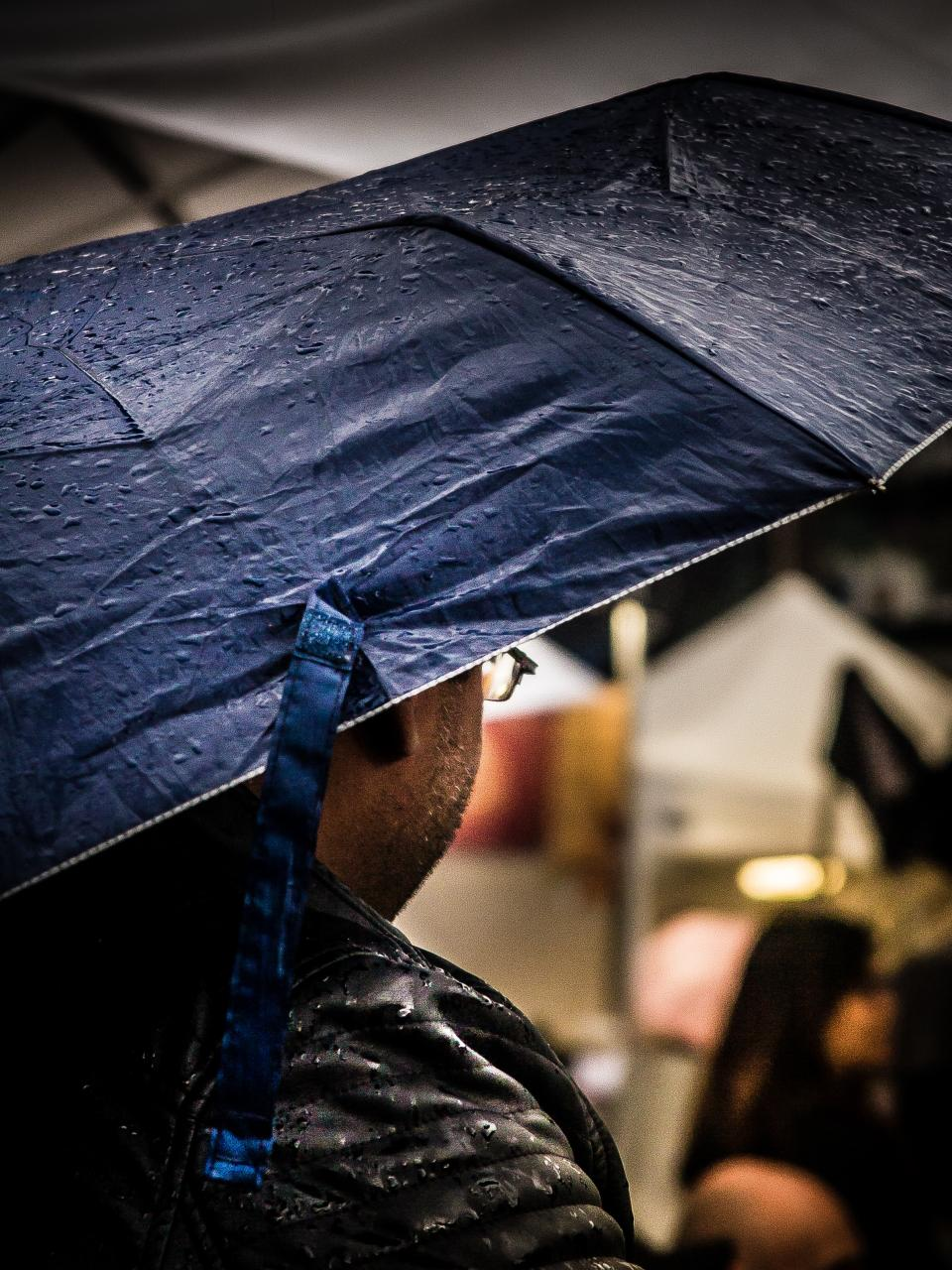 people man wet water drops rain umbrella
