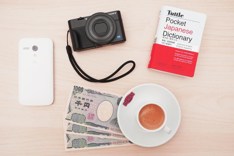 camera sony cellphone technology book money dictionary yen plate tea mug cup table aesthetics photography