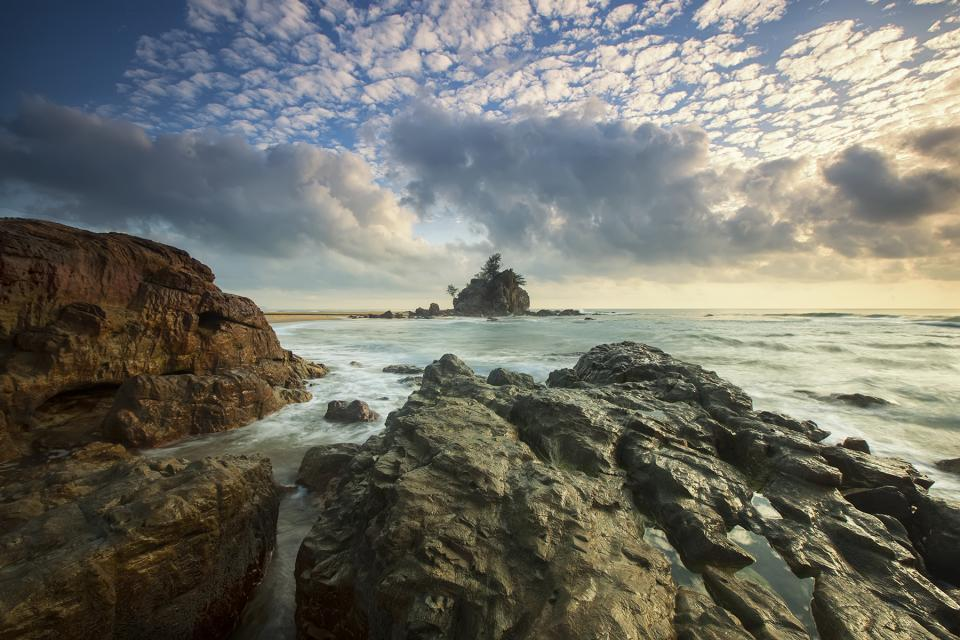 sea ocean splash ripples rock formation landscape nature waves adventure travel sky clouds