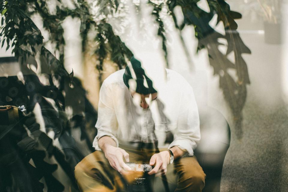 people man camera lens photography photographer double exposure leaves trees plant sit