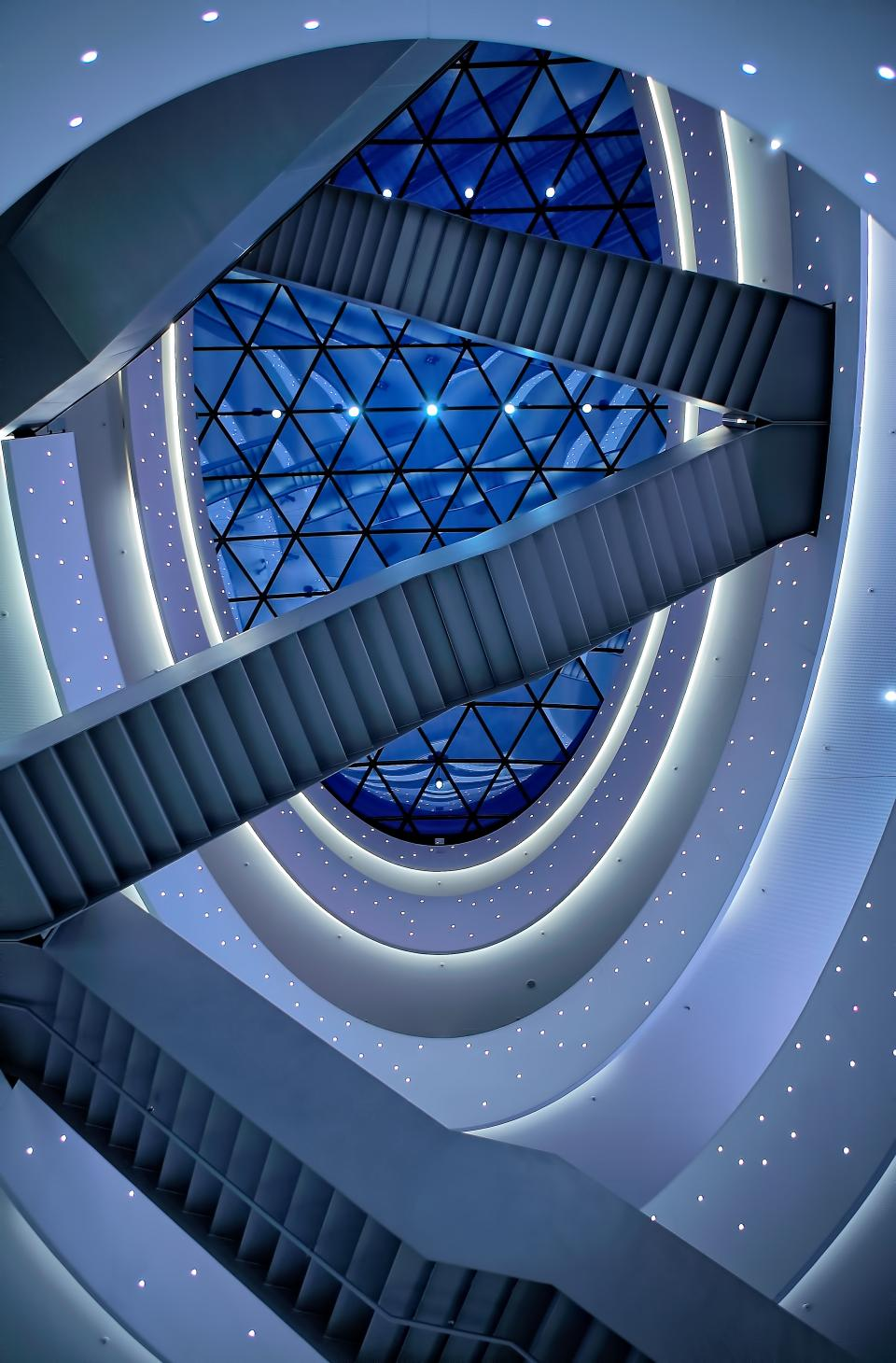 architecture blue building infrastructure interior stairs ceiling design