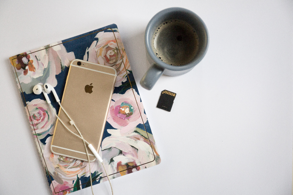 top workspace office smartphone technology business phone freelance flat lay copyspace devices coffee cup mug journal headphones
