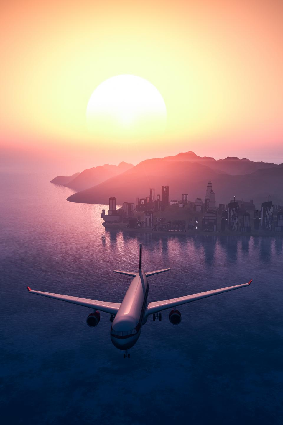 airplane travel adventure plane vacation trip transportation vehicle urban city sunset water ocean sea building establishment