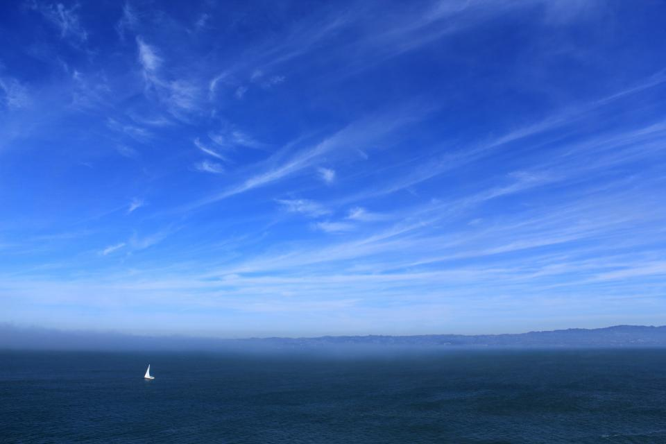 blue sky clouds sailboat ocean sea landscape nature