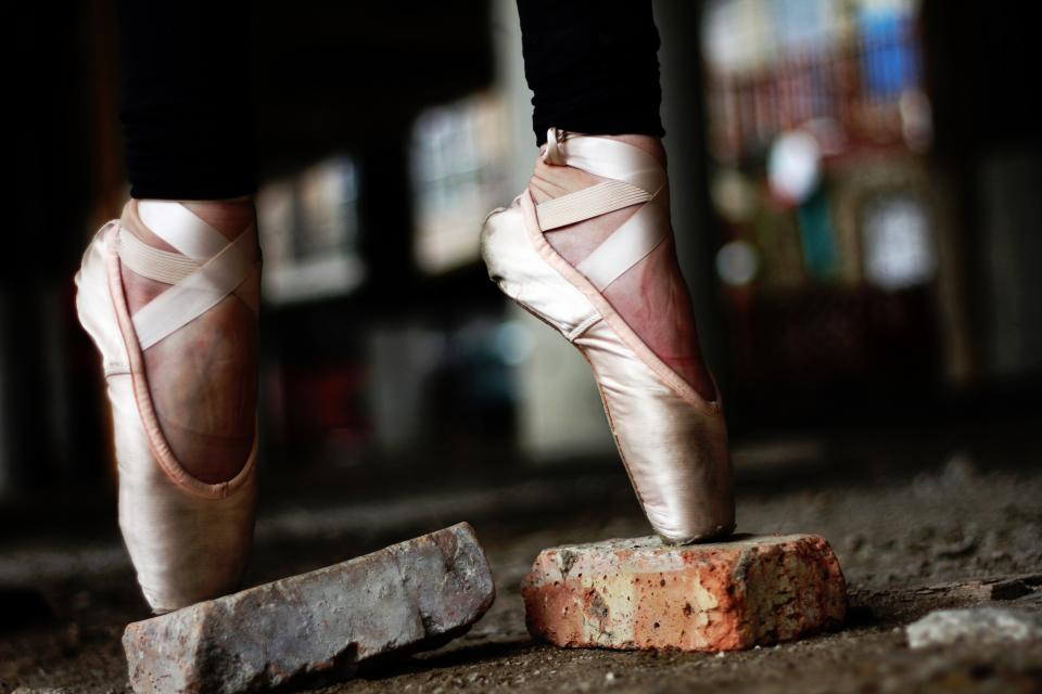 bricks ballet shoes pink pointed toes