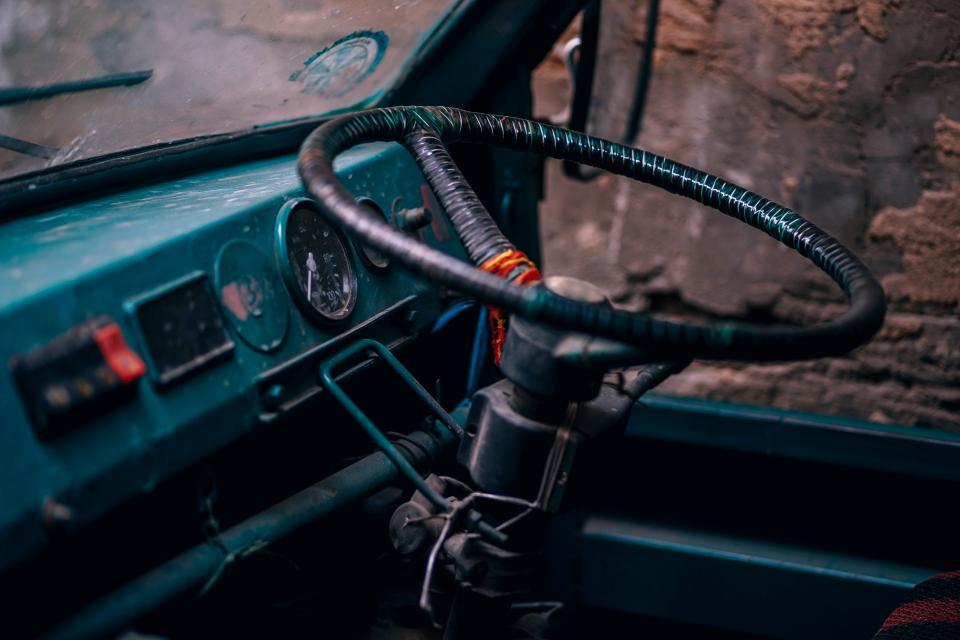 old car vehicle steering wheel travel trip