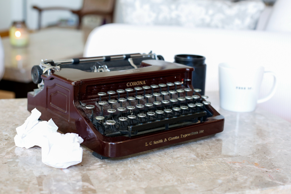 typewriter table vintage desk mug coffee old antique writer writing journalist keyboard author cup object classic