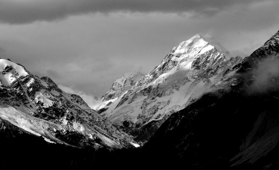 mountains nature landscape clouds scenic view peak outdoors monochrome snow clouds