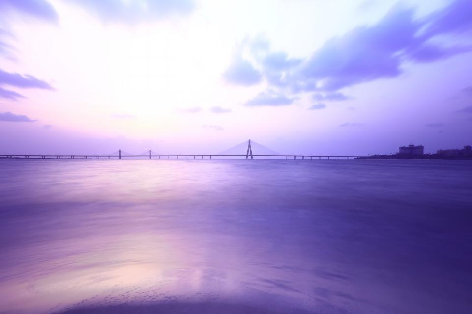 water ocean sea clouds sky infrastructure bridge