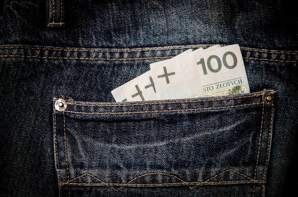 money bills notes dollars finance cash jeans pocket denim