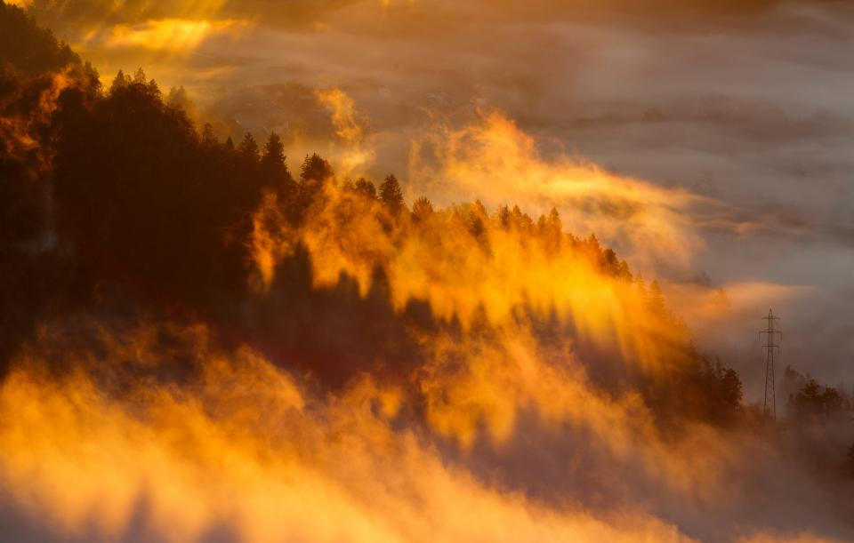 nature landscape clouds sky fog sunny sunset trees mountain