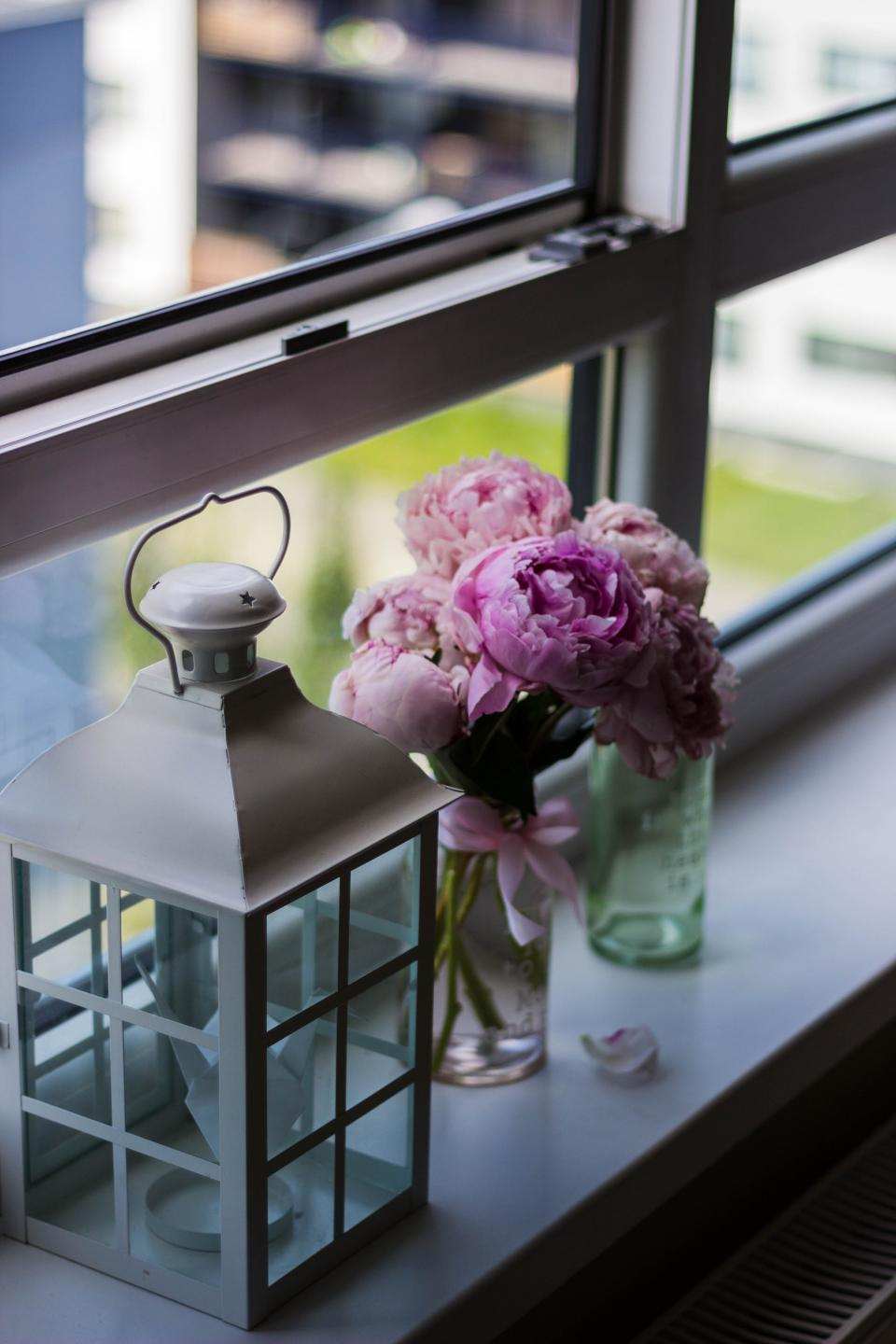 colorful flower vase lamp bedroom window blur bokeh