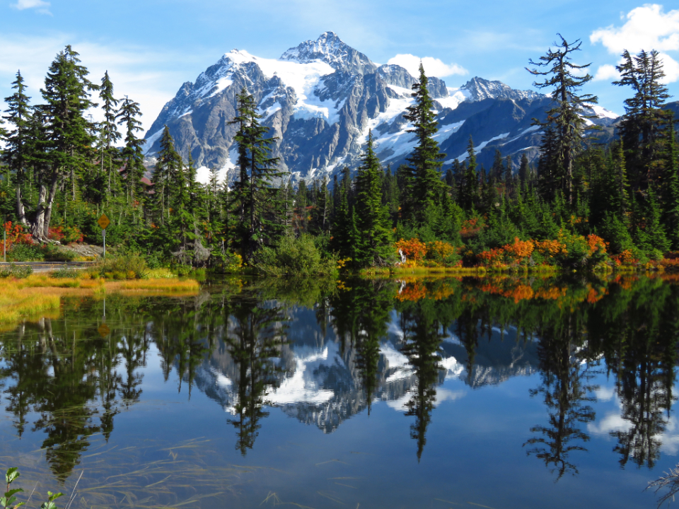 landscape mountain reflection scenic beautiful nature outdoors trees forest water lake hike camp adventure travel explore climate environment