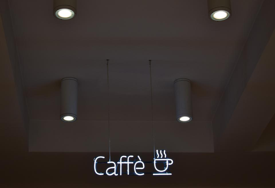 coffeehouse shop cafe store caffe signage light lamp design ceiling architecture