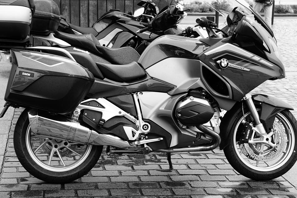 black and white motorcycle motorbike big bike vehicle outside