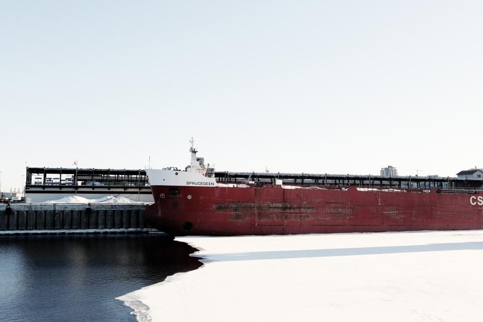 ship container carrier cargo water ice winter transportation