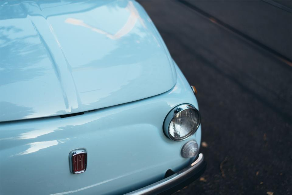 fiat 500 blue car vintage automotive