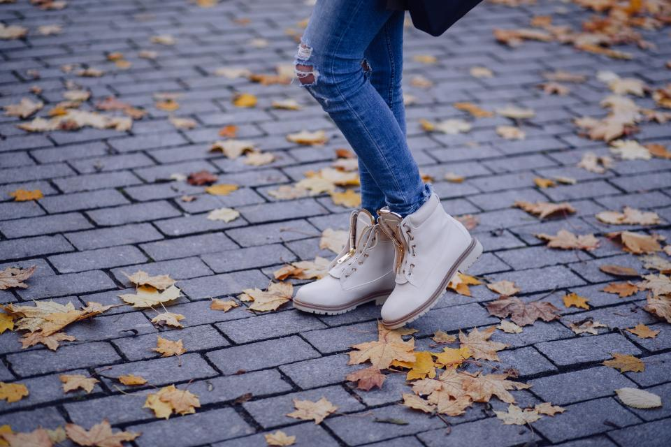 jeans denim clothing fashion footwear boot shoe model people girl leaf fall autumn