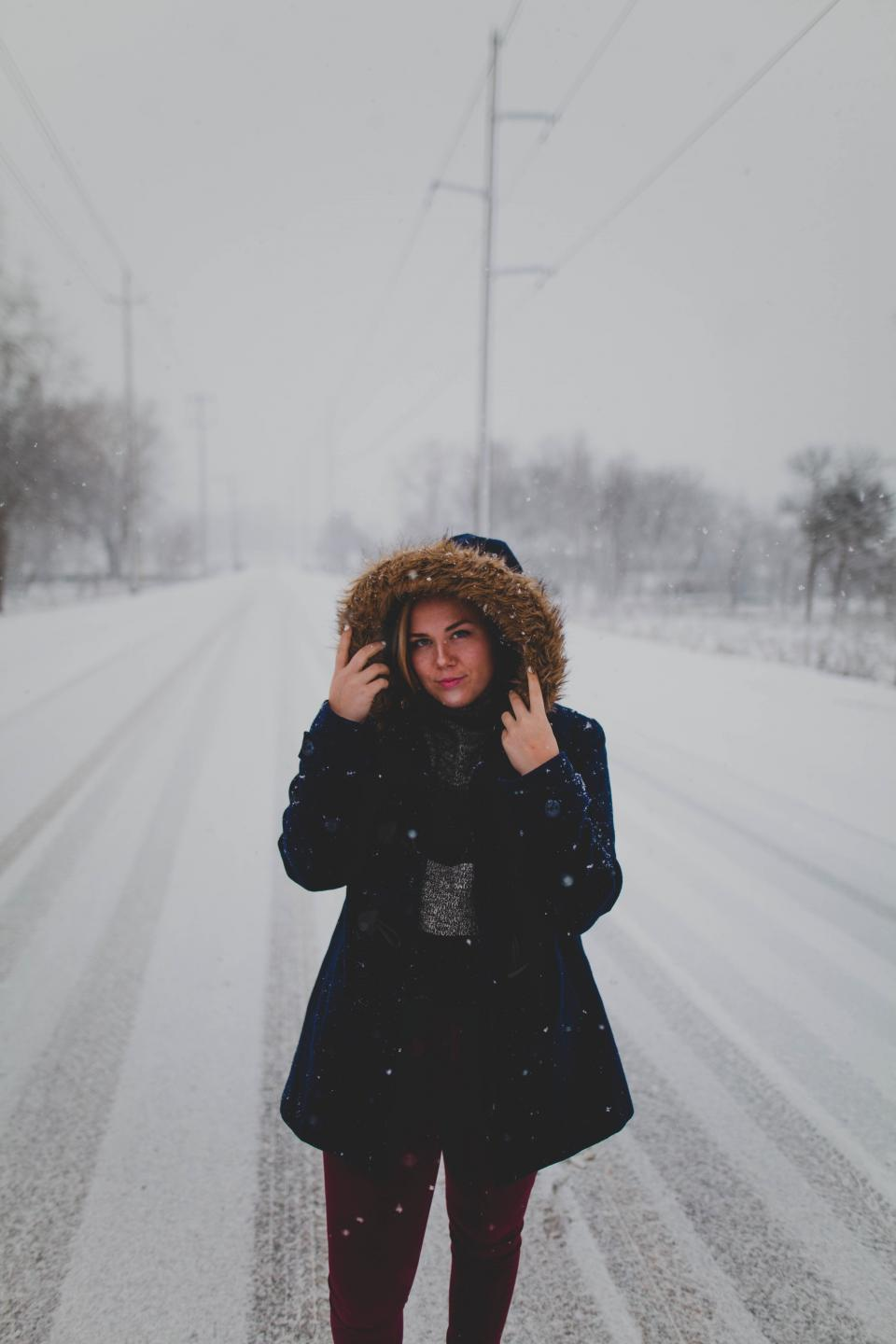 road path snow winter people woman girl clothing outdoor travel