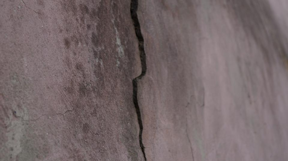 crack wall old paint lichens stains dirt dark