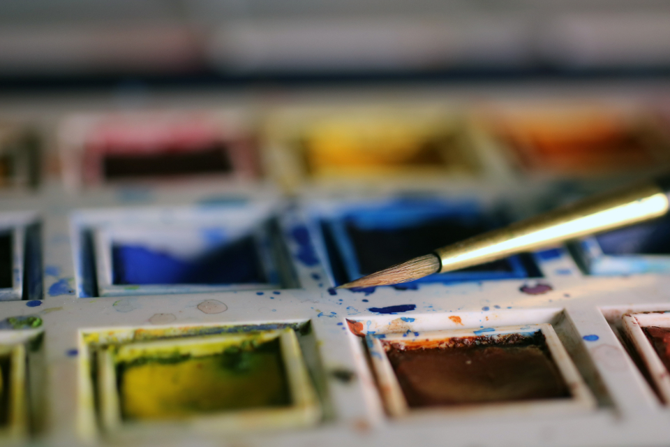watercolours paint color colors blue yellow orange red red paint orange paint yellow paint blue paint paint brush art artwork artists