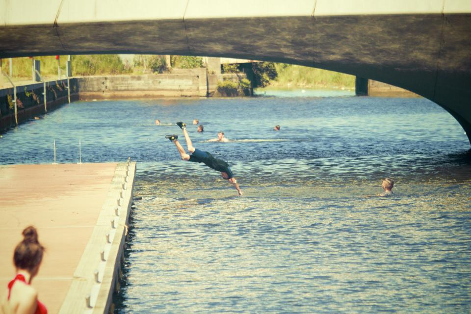 swimming diving dive water bridge people summer