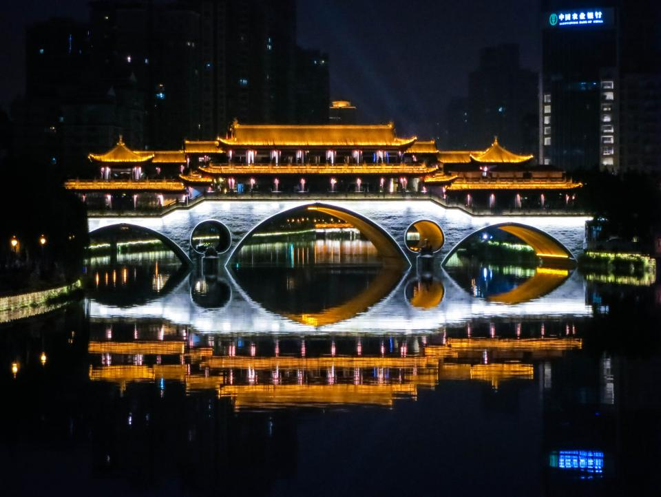 Anshun Bridge Chengdu China architecture water night dark evening