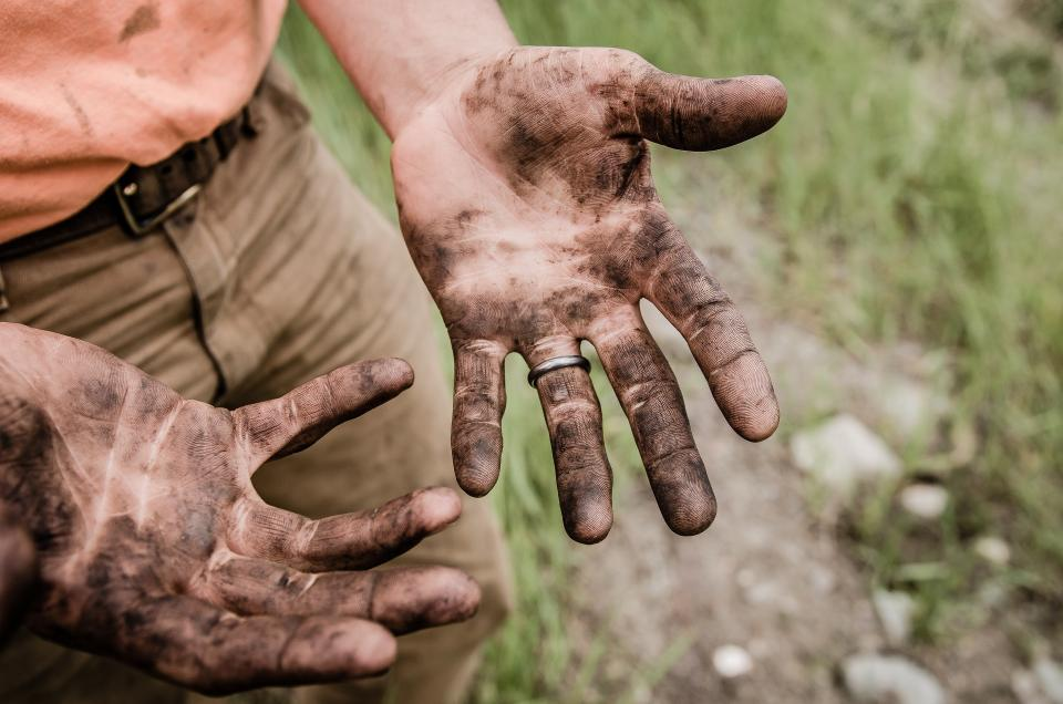 people male dirty hand palm outdoor