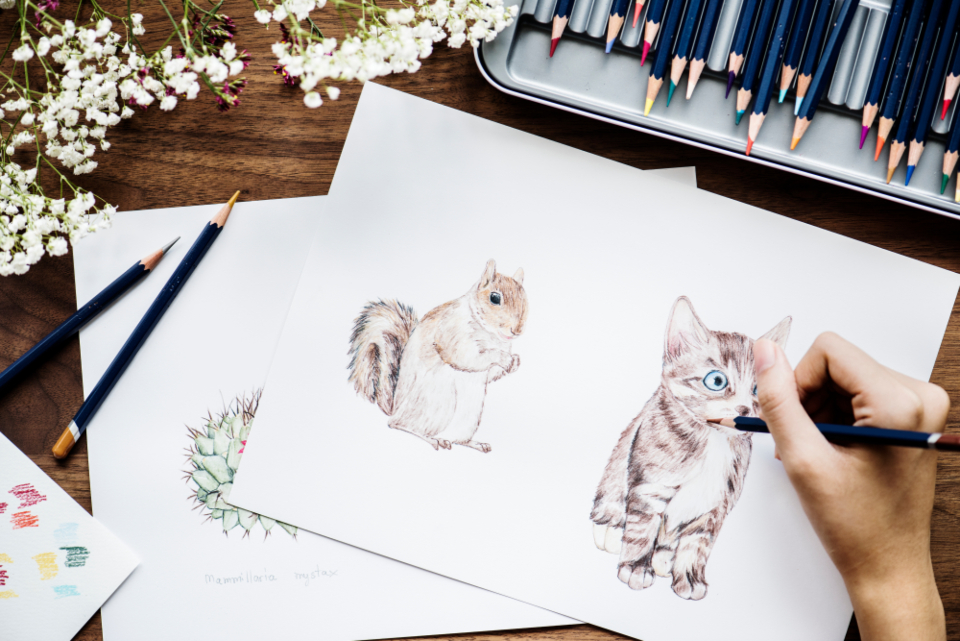 adorable animal art artist bright cat closeup color colorful coloring cute design drawing flat lay flatlay freelance freelancer hand hobby illustration illustrationist paper pen pencil person rainbow set squirrel sta