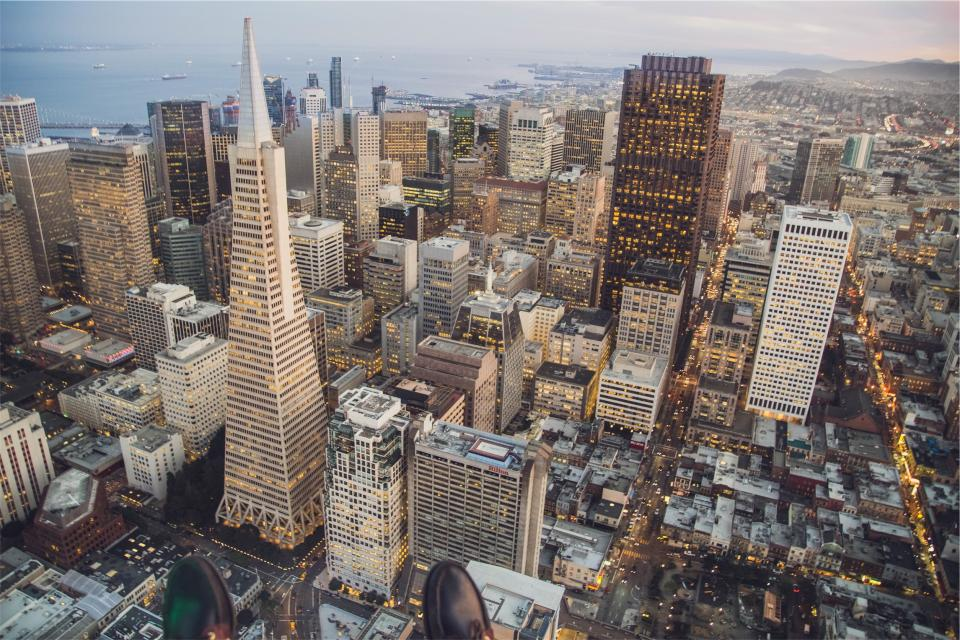 San Francisco buildings towers high rises rooftops architecture aerial view city urban downtown