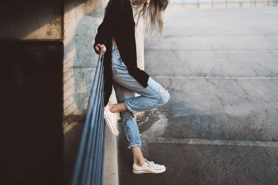 girl woman jeans fashion shoes sneakers parking lot lifestyle people urban long hair brunette model beauty