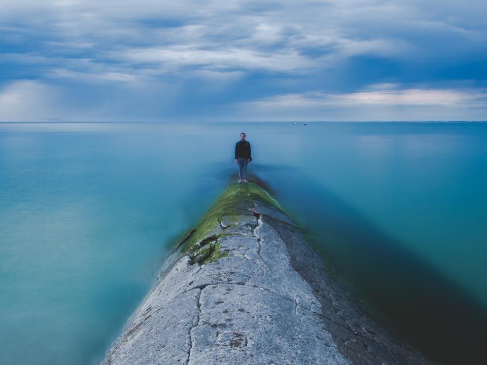 sea ocean blue water nature people man male horizon cloud sky
