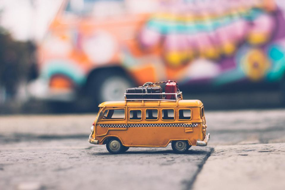 bus vehicle toy travel reflection blur bokeh