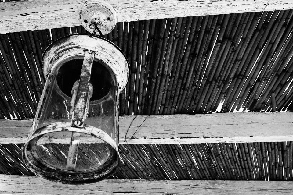 lamp light bulb wooden ceiling black and white