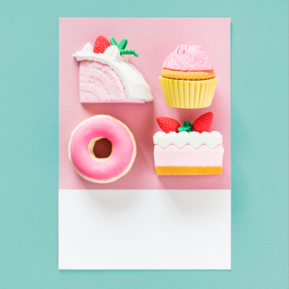 arranged art background birthday cake candy card close up colorful creativity cupcake donut flat lay food frosting green isolated lay flat micro object paper party pastel pastry pink red strawberry sweet tags top