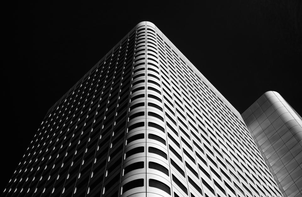 architecture building infrastructure sky skyscraper tower black and white
