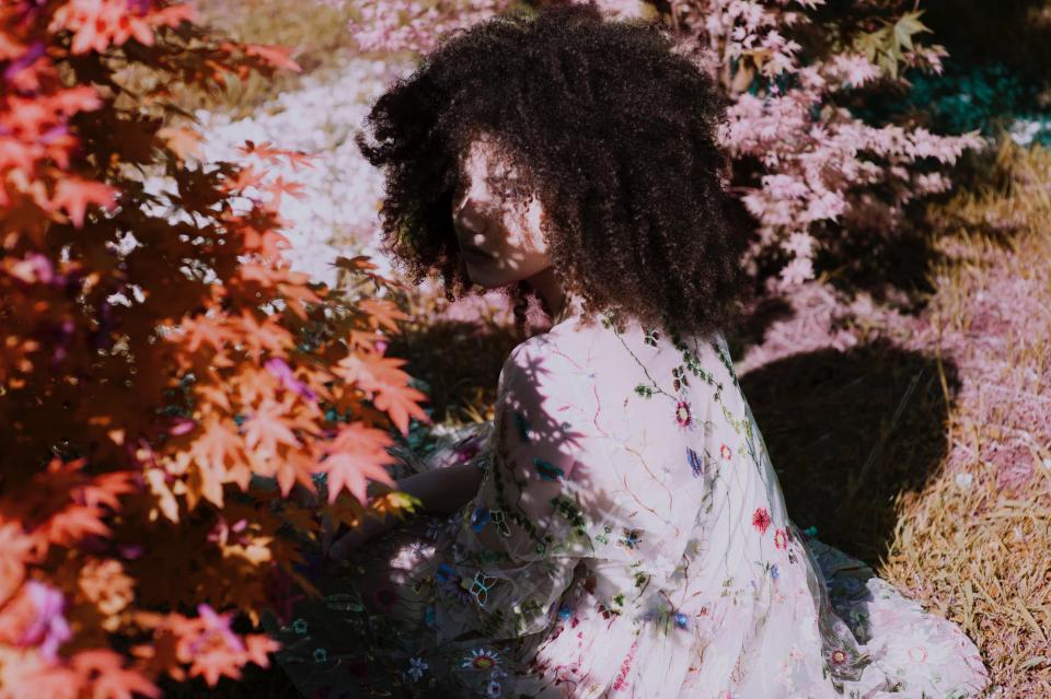 autumn nature plants leaves flowers people girl woman lady curly hair outdoor sunny day