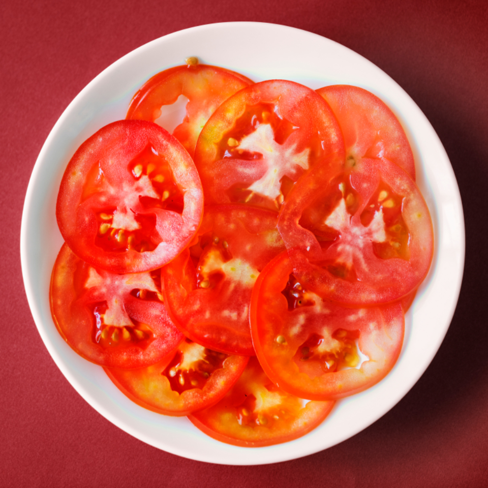 delicious food fresh half health healthy herbs ingredient natural organic piece plate raw red ripe round rustic salad shiny slice sliced tasty tomato vegetable vegetarian vitamin w tomato