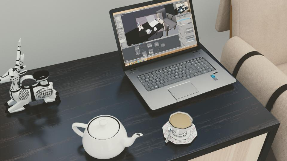 office work business workspace table desk technology gadgets laptop computer windows interior design 3D photoshop teapot cup saucer teaspoon chairs decorative reindeer stag paperweight sculpture
