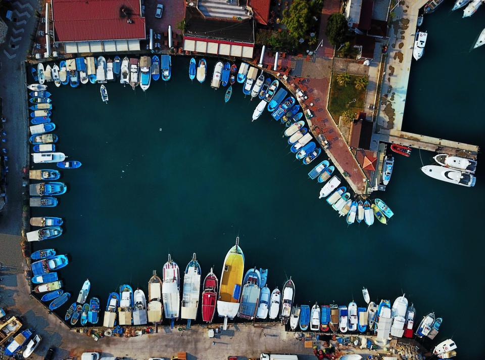 pathway sea ocean water boat yacht ship transportation aerial view