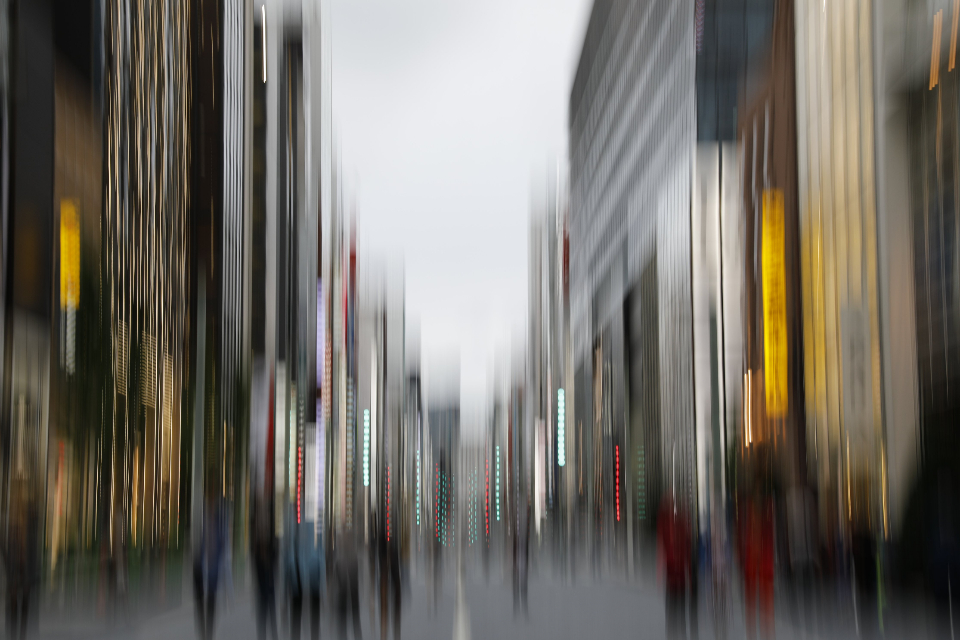 city background blur abstract urban people road crowd daytime buildings scene walking motion downtown busy