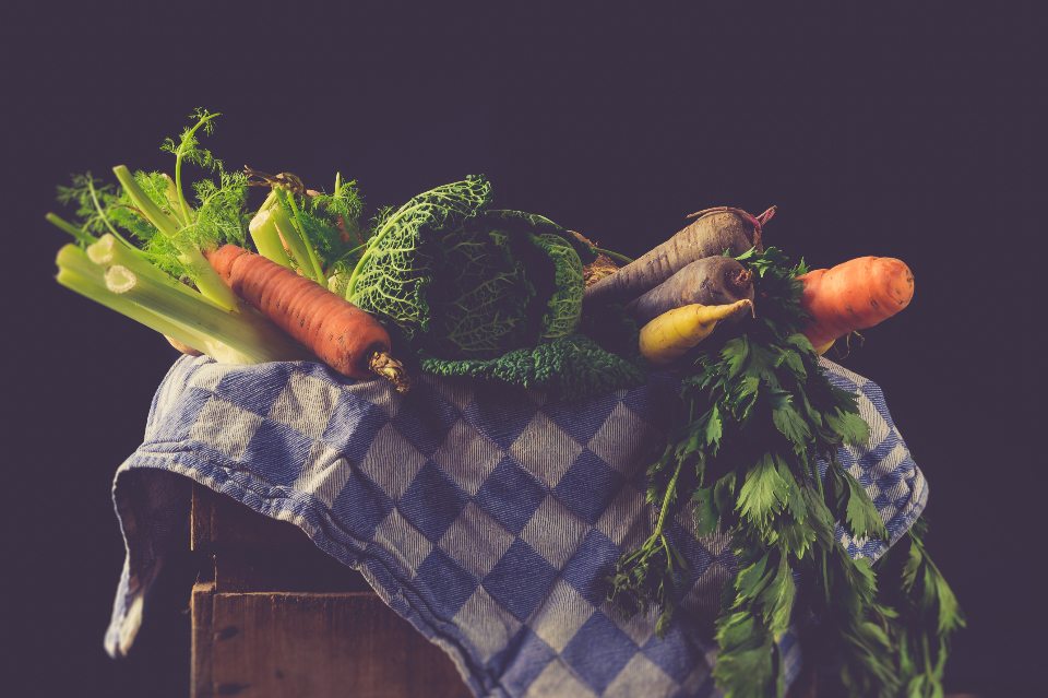 rustic vegetables ingredients fresh raw mockup still life vintage dishcloth fennel cabbage carrot healthy colorful