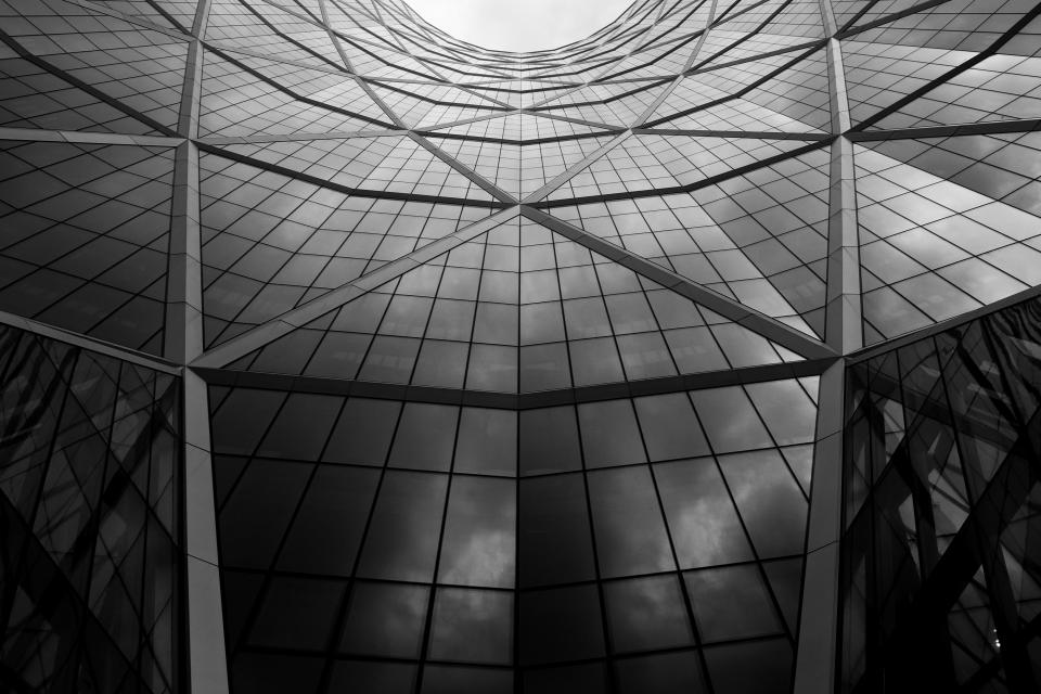 building architecture windows black and white
