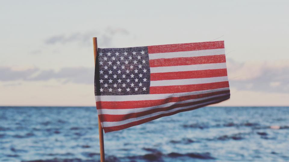 sea ocean water nature horizon clouds sky flag usa