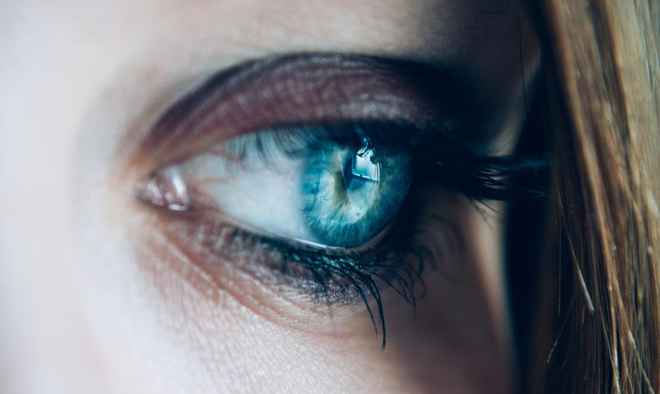woman girl lady people head anatomy eye iris pupil cornea eyelashes pores hair sad thinking