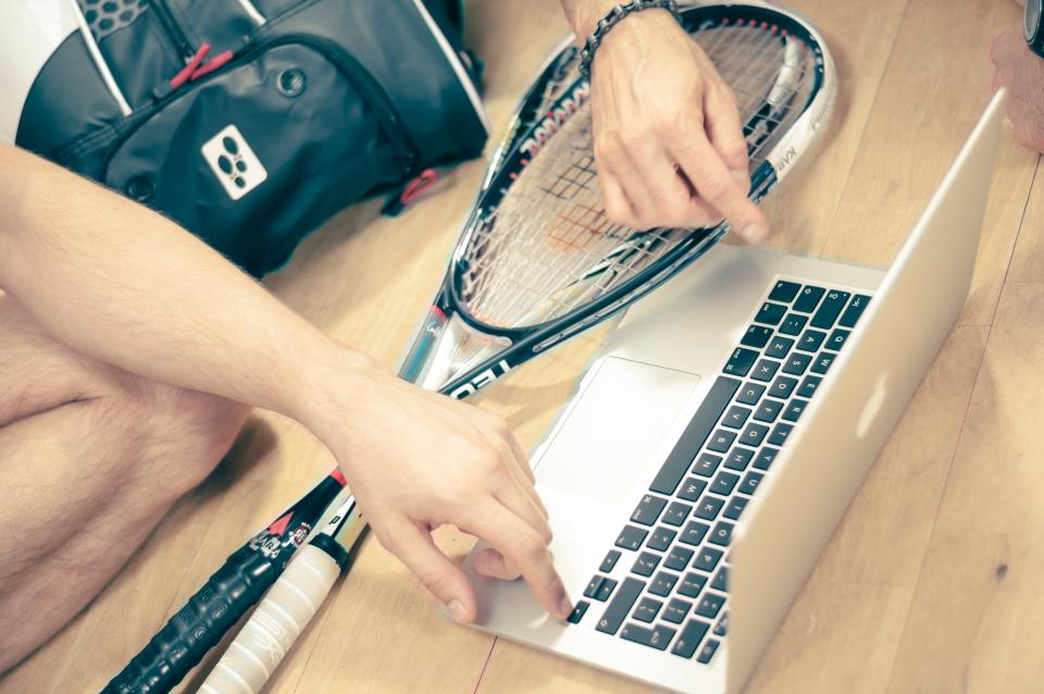 squash rackets macbook laptop computer people court athlete technology
