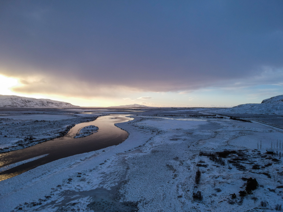 cold winter river iceland landscape sky clouds snow freezing frozen ice nature outdoors outside travel sunset aerial