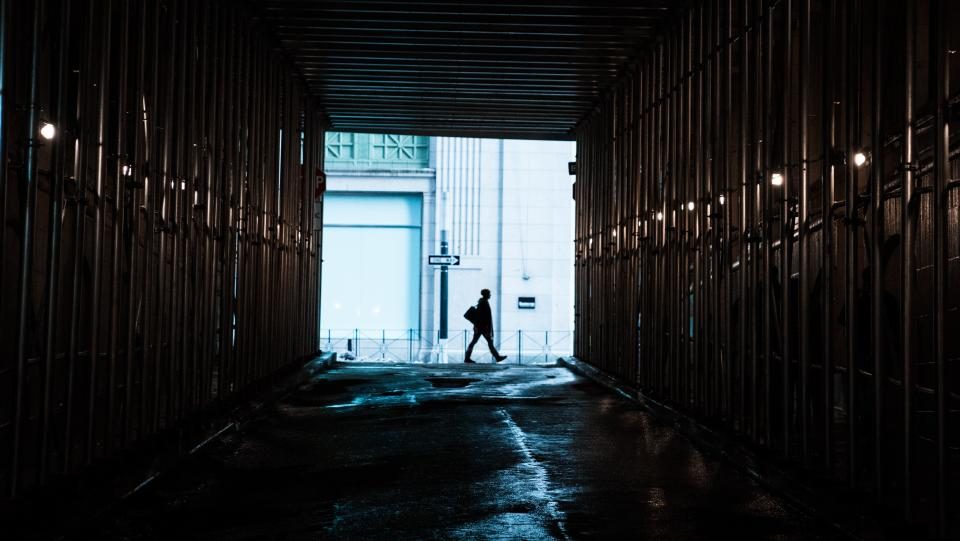 people man alone dark tunnel walk alone tunnel building establishment