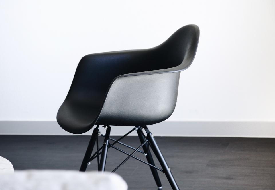 chair black and white steel wall floor